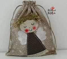 an angel-decorated bag Christmas Sewing, Christmas Crafts, Christmas Ornaments, Sewing Crafts, Sewing Projects, Diy Angels, Patchwork Bags, Christmas Makes, Fabric Bags