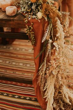 Terracotta Hand Dyed Gauze Table Runner by MossHound Designs boho wedding Terracotta Hand Dyed Gauze Table Runner Fall Wedding Flowers, Fall Wedding Colors, Autumn Wedding, Boho Wedding, Floral Wedding, Rustic Wedding, Destination Wedding, Wedding Day, Fall Wedding Table Decor
