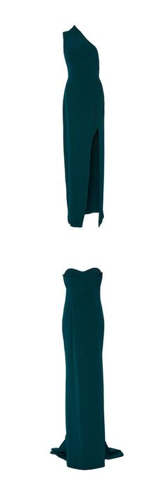 """""""Dresses"""" by girliegirl258 ❤ liked on Polyvore featuring dresses, gowns, brandon maxwell, long dresses, maxi dress, green, evening maxi dresses, long white dress, white one shoulder dress and long maxi dresses"""