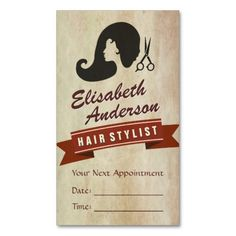 Retro Beauty - Hair Salon Stylist Appointment Double-Sided Standard Business Cards (Pack Of 100)