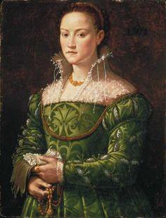 Partlet and green dress Portrait of a Florentine Noblewoman, attrib. Costume Renaissance, Renaissance Mode, Renaissance Portraits, Renaissance Paintings, Renaissance Fashion, Renaissance Clothing, Elizabethan Costume, Italian Renaissance Art, Tudor Fashion
