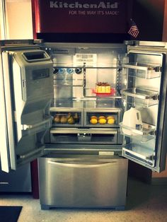 The new KitchenAid Platinum refrigerator. Designed with both fashion and function in mind. Come by Sonny's today for a look. *Cake not included