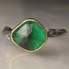 Rose Cut Emerald Twig Ring 18k Gold and Sterling by JanishJewels
