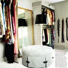 This is Chantecaille's finished closet. She designed it on a budget with elfa shelving from the container store and other inexpensive materi...