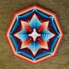 Inner Power , yarn mandala ~ Ojo de Dios, 11 inches (28 cm), 8-sided, wall hanging