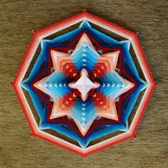 Inner Power , yarn mandala ~ Ojo de Dios, 11 inches (28 cm), 8-sided, wall hanging