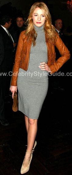 Blake Lively Style and Fashion - Ralph Lauren Black Label grey cashmere sweaterdress - Celebrity Style Guide