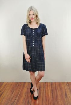 Vtg 80s Navy Plaid Laura Ashley Draped Dolly Secretary Party Mini Dress S | eBay