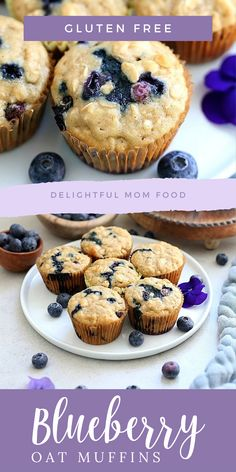 The fluffiest gluten free blueberry muffins recipe! These healthy and easy blueberry oat muffins are seriously the best gluten-free muffins! They are also dairy-free and packed with fiber juicy blueberries rolled oats and a hint of lemon zest. Muffins Sans Gluten, Dairy Free Muffins, Blueberry Oatmeal Muffins, Gluten Free Blueberry Muffins, Dessert Sans Gluten, Healthy Blueberry Muffins, Bon Dessert, Gluten Free Oats, Blueberry Recipes