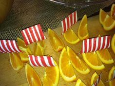 Orange slices as Viking Longboats at a Viking Birthday Party.