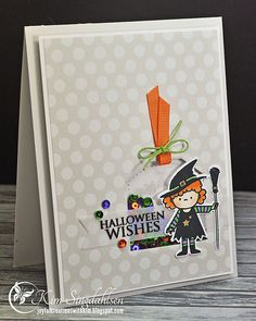 Halloween Wishes from Joyful Creations with Kim.  Witch is from Mama Elephant.  Tag die and sequins from Pretty Pink Posh.
