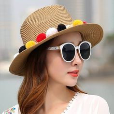 Colorful pom pom straw boater hats for women summer flat brim sun hats