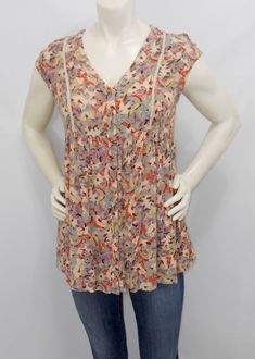 b76f02c5532 Anthropologie Vanessa Virginia Floral Tunic Cap Sleeve Boho Button Down XS