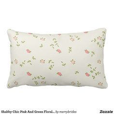 Shabby Chic Pink And Green Floral Pattern Pillow