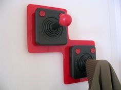 wall hangers from vintage joysticks #diy #upcycling