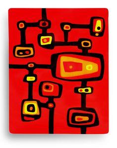Summer in the City. How I am loving the reds in the Bullseye palette! By Kim Brill. www.FusedArtGlassByKimBrill.com