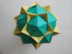 """Dodecahedron from Propeller Units in Tomoko Fuse's """"Multidimensional Transformations: Unit Origami""""."""