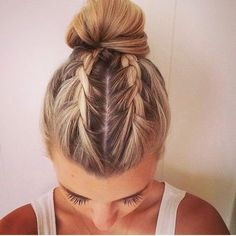 Braids into bun, this is cool!!☺️