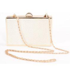 Aliado artificial snake leather Box Shaped Golden Chain White Clutch