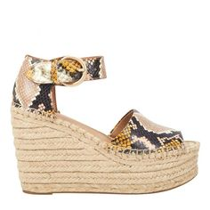 The Alida sandal is ready for summer with an adjustable ankle strap and a retro-inspired espadrille platform Brown Leopard, Pink Brown, Blue Suede, Brown Suede, Gold Leather, Wedge Sandals, Ankle Strap, Espadrilles, Footwear