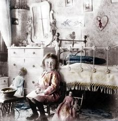 vintage photo little Girl Victorian Bedroom photo print folk art dolls little girls room home decor on Etsy, € 17,97