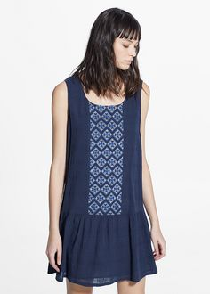embroidered panel dress