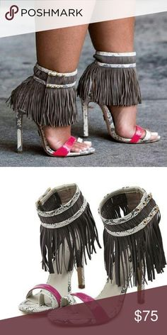 Runway Fringe Heels These are sexy open-toe gladiator fringe high heels. I purchased these in Jan and I've never worn them. So, now I'm selling them. Interested? Blessings. K~  Shoes Heels