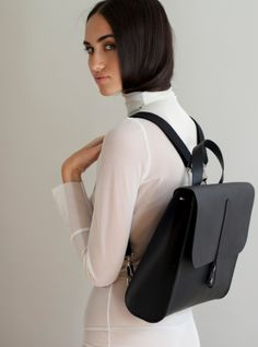 Young British Designers: Caity Rucksack in Black by Danielle Foster - The perfect city girl commuter bag. Sleek, chic, contemporary with a minimalist aesthetic and maximum practicality.