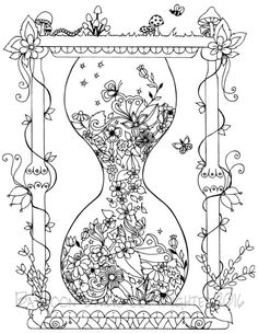 Cool Coloring Books for Adults Luxury Garden Hourglass Coloring Page Printable Coloring Pages Adult Coloring Page Garden Coloring Pages, Free Adult Coloring Pages, Cool Coloring Pages, Coloring Pages To Print, Printable Coloring Pages, Printable Worksheets, Free Printable, Colouring Pics, Coloring Books