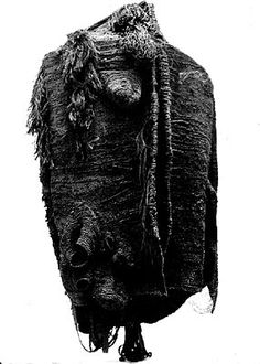 Magdalena Abakanowicz -- BLACK GARMENT, 1969, Sisal weaving on metal support; 300 x 180 x 60 cm; Collection of the Stedelijk Museum, Amsterdam