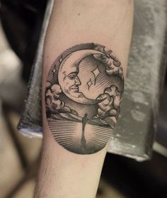 Poetic and gorgeous etching style tattoo by Can Gurgul.