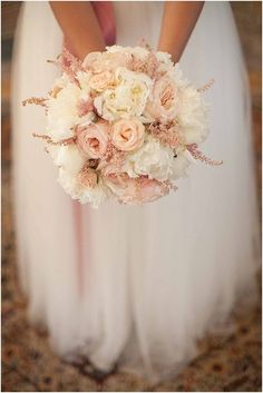 Photo: Loove Photography via French Wedding Style; Glamorous Blush Wedding Ideas to Inspire - blush bridal bouquet; Loove Photography via French Wedding Style Pink And White Weddings, White Wedding Bouquets, Bride Bouquets, Floral Wedding, Wedding Colors, Wedding Dresses, Bridesmaid Bouquets, Bridesmaids, Wedding Pastel