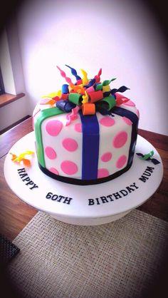 60th birthday cake for my Mum. Gluten free and lactose free chocolate and white chocolate mud cake.