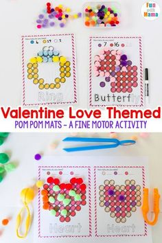Valentine Pom Pom Mats - Fun with Mama - Fine Motor activity for kids.