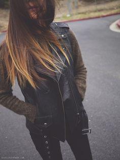 Leather Vest + Olive Sweater + Black Skinnies