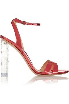 Gianvito Rossi Mirrored-leather sandals NET-A-PORTER.COM
