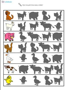Preschool worksheets - Za zvířátky na dvoreček Preschool Learning Activities, Kindergarten Math, Book Activities, Preschool Activities, Farm Animals Preschool, Visual Perception Activities, Kids Math Worksheets, Kids Education, Kids And Parenting