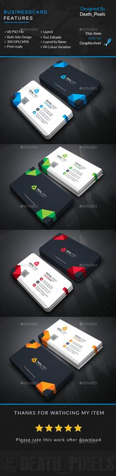 Corporate Business Card Design - Business Cards Template PSD. Download here: https://graphicriver.net/item/corporate-business-card/16930587?s_rank=72&ref=yinkira