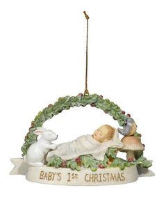 GR 'Baby's First Christmas' Ornament #zulily #zulilyfinds #GR #GrasslandsRoad #Ceramic #GReen #REd #Brown  #White #Gray #Grey #Ribbon #GiftBoxed #Cute #Gift #GiftIdea #Christmas #Holiday #Ornament #Hang #Decor #Decoration #Home #Tree #Small #style #accessories #design #quality #xmas #xmasgifts #Baby #Animals #Bunny #Bird #1st #1stchristmas #Love #Happy #3D #Onesided