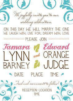 Off Beat  Printable Wedding Invitations Digital by PaperCutCouture, $15.      Love the wording! :)