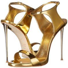 Giuseppe Zanotti Back Buckle Slide High Heels ($950) ❤ liked on Polyvore featuring shoes, sandals, heels, gold, platform heel sandals, metallic platform sandals, one strap sandals, high heel sandals and giuseppe zanotti sandals