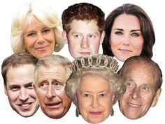 Be the STAR of the Party wearing your own High Quality Fancy Dress Mask of Diamond Jubilee Queen Philip Harry William Kate Charles Camilla 7 Pack. All our celebrity facemasks are posted Class next day. Party Face Masks, Face Mask Set, Mask Party, Eye Masks, Harry Wedding, Tea Party Wedding, Wedding Stuff, Adult Fancy Dress, Halloween Fancy Dress