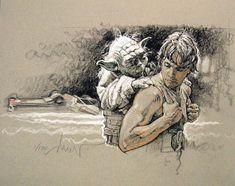 Luke Skywalker Luke with Yoda by Drew Struzan Star Wars Jedi, Star Wars Film, Star Wars Art, Star Wars Personajes, Star Wars Drawings, Art Drawings, Luke Skywalker, Star Wars Characters, Comic Art
