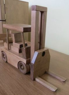 FORKLIFT WOOD TOY TRUCK Amish Handmade Working Wooden Toys for Play & Display Made in USA