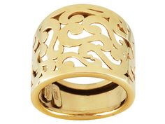 Love filigree jewelry? Well you've got your work cut out for you! | 10k Yellow Gold Filigree Design Open Cut Band Ring With Tapered Shank
