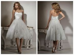 Princess Sweetheart Strapless Embroider Puffed Keen Length
