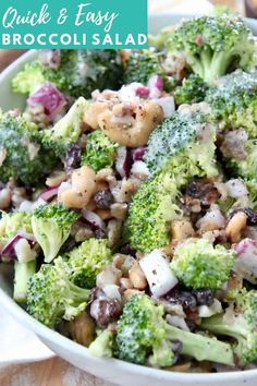 What if I told you that it only takes 10 minutes to whip up THE BEST Broccoli Salad ever?! That's right, this delicious broccoli salad with bacon, raisins and cashews is so easy to make and everyone at your next BBQ or party will go crazy for this recipe! If you've ever had Joan's Broccoli Madness at Sweet Tomatoes, then you're going to love this copycat recipe! For a quick and easy shortcut, I toss the salad in my favorite creamy Coleslaw dressing. It's sweet, salty, crunchy & SO EASY to… Best Broccoli Salad Recipe, Easy Broccoli Salad, Fresh Broccoli, Healthy Salad Recipes, Quick Recipes, Side Dish Recipes, Vegetarian Recipes, Popular Recipes, Delicious Recipes