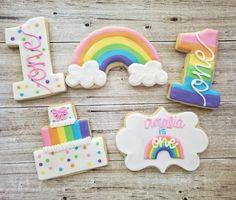 First Birthday Cookies, Rainbow First Birthday, Girl First Birthday, Unicorn Birthday, First Birthday Parties, Birthday Party Themes, First Birthdays, Birthday Ideas, Birthday Celebrations