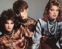 Elegant 80's supermodel Joan Severance with Cindy, Julie Wolfe and Renee Simonsen modeling exquisite high fashion designer couture - so very fine!