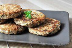 Kotlety z kaszy gryczanej Salmon Burgers, Vegetarian, Ethnic Recipes, Food, Salmon Patties, Eten, Meals, Diet